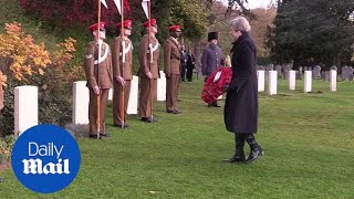 Theresa May lays wreath to mark First World War centenary in Belgium