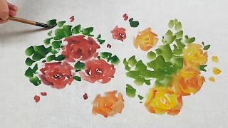Акварель и Азиатская живопись Розы видео урок Asian Brush Watercolor Roses 장미 그림 그리기