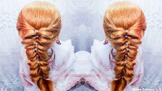 ОБЪЕМНАЯ КОСА ИЗ РЕЗИНОК. ВАРИАНТ 2 ФРАНЦУЗСКОЙ КОСЫ В ВИДЕ СЕРДЕЧЕК прическа мода 2016  hair