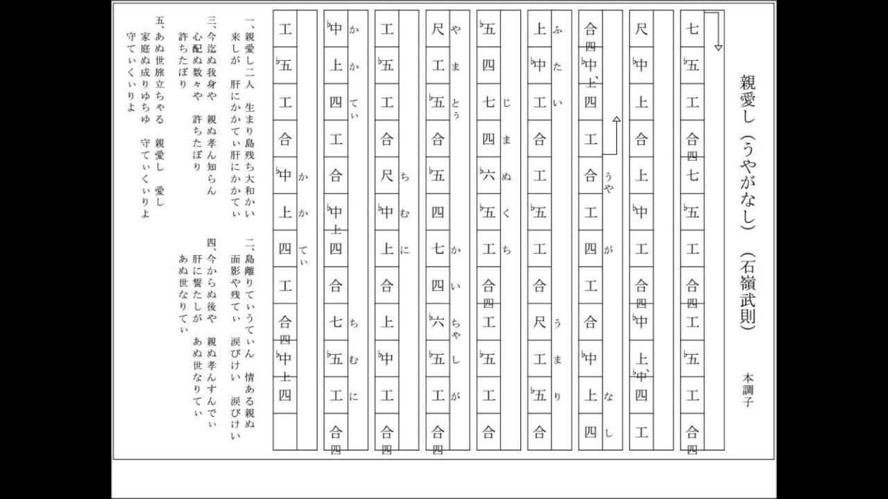 親愛し(うやがなし)(石嶺武則)工工四 歌詞 (三線調弦CFC本 ...