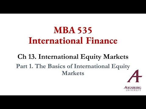 Part 1. The Basics of International Equity Markets