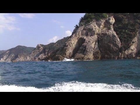 Cave of Japan of blue 3D 浜坂漁港カニ祭りと青の洞窟、ジオパーク