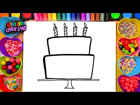 Thumbnail: Learn to Draw and Color for Kids Birthday Cake Coloring Pages 01