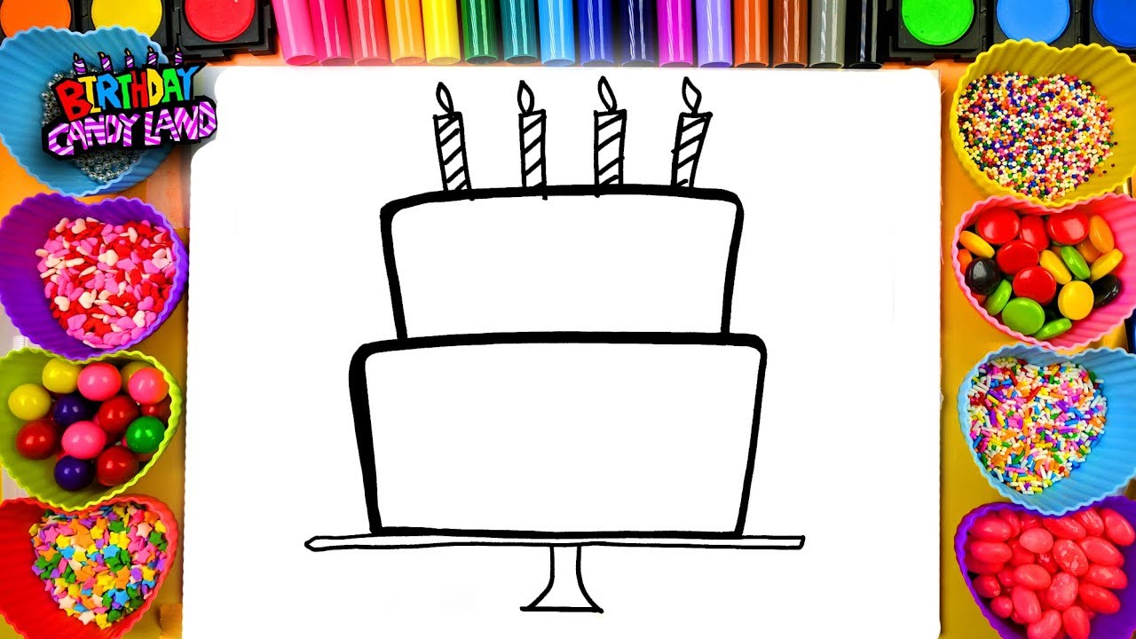 Learn To Draw And Color For Kids Birthday Cake Coloring