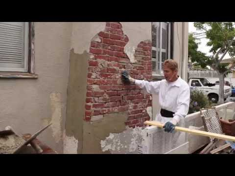 Teaching Sand and Cement Plastering & Rendering on a brick chimney
