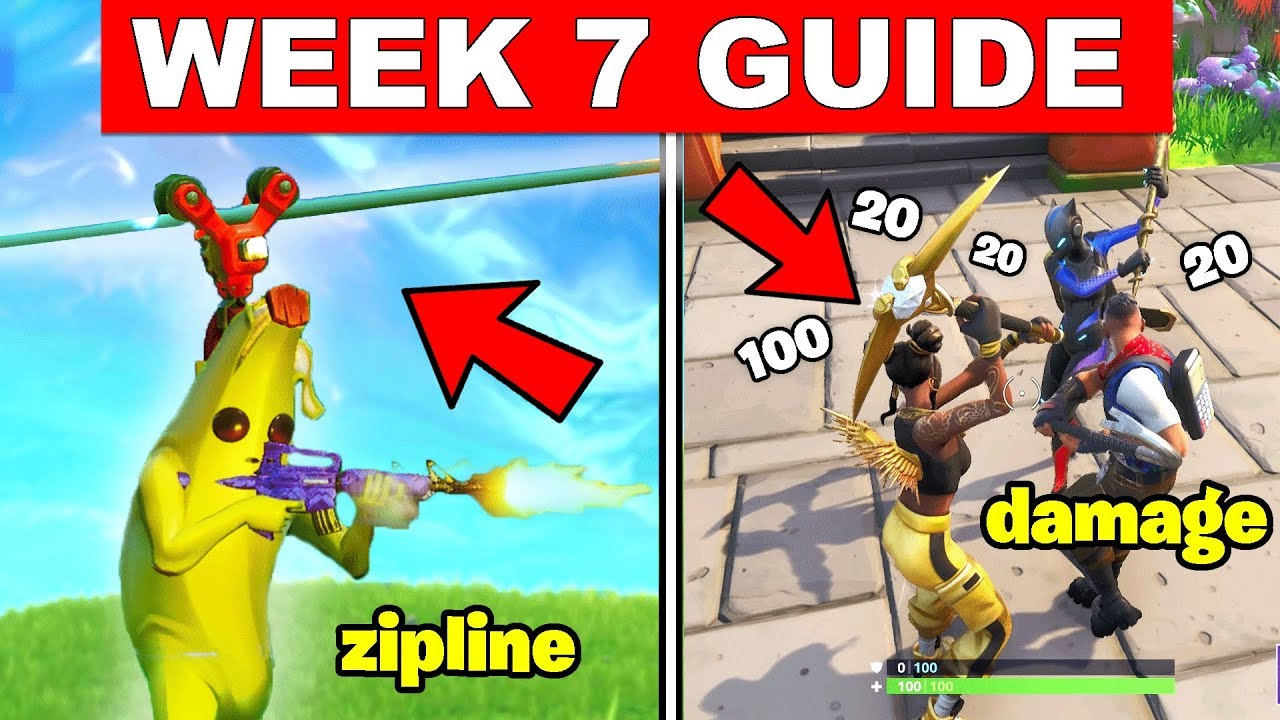 fortnite all season 8 week 7 challenges guide deal damage riding a zipline visit pirate camps - fortnite season 8 week 7 zipline