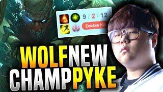 SKT T1 Wolf Plays New Champion Pyke! - Wolf Insane Pyke Support! | SKT T1 Replays