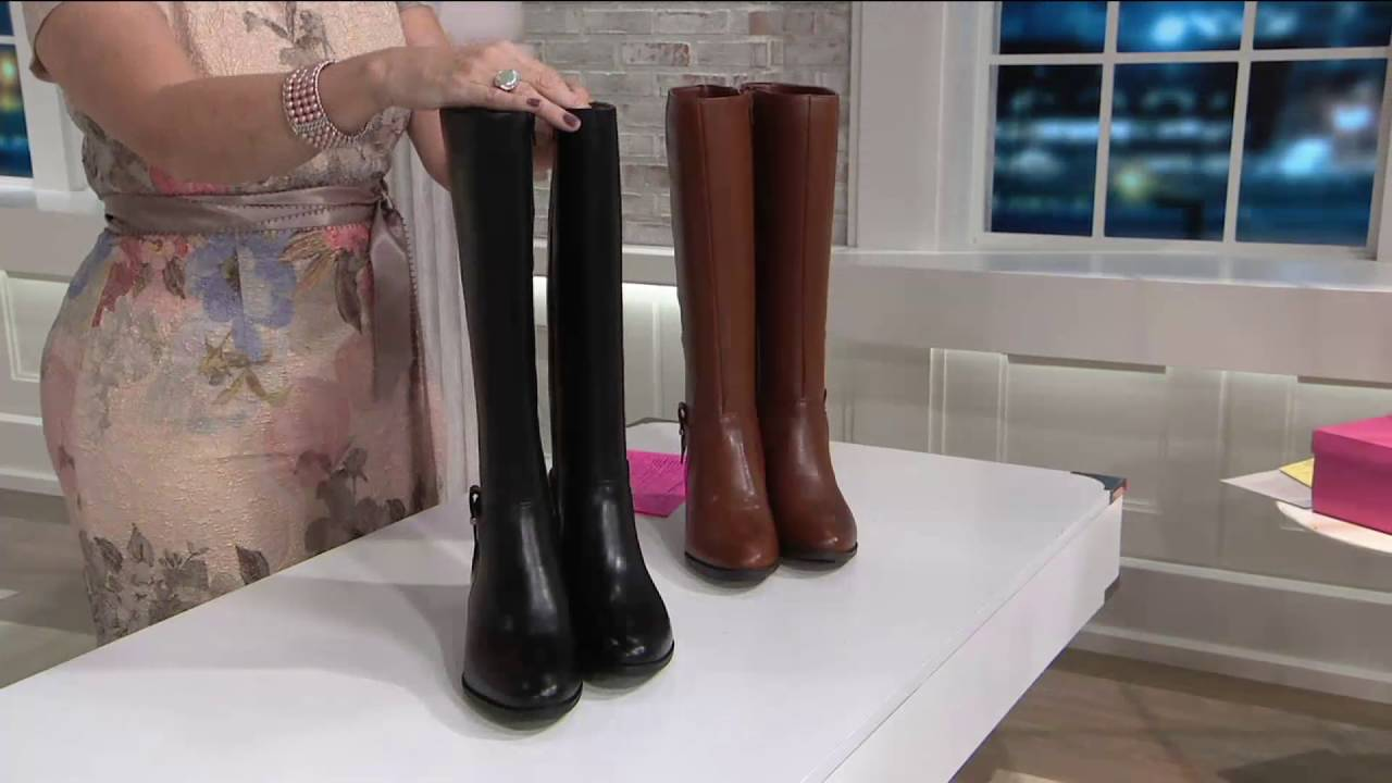 4bb99ece3b9 Nine West Stacked Heel Riding Boots- Villiger on QVC