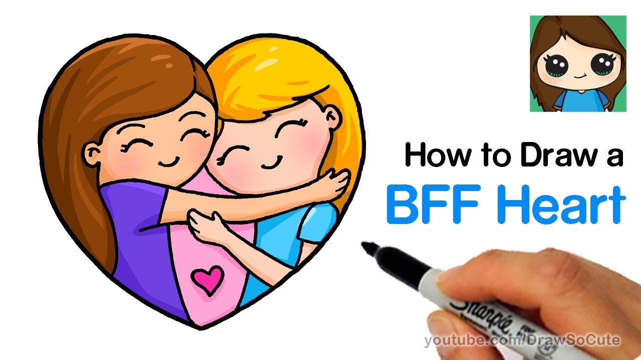 How To Draw Best Friends Forever Heart Easy Youtube
