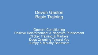 Deven Gaston - Basic Training : Operant Conditioning / Jumpy & Mouthy Behaviors