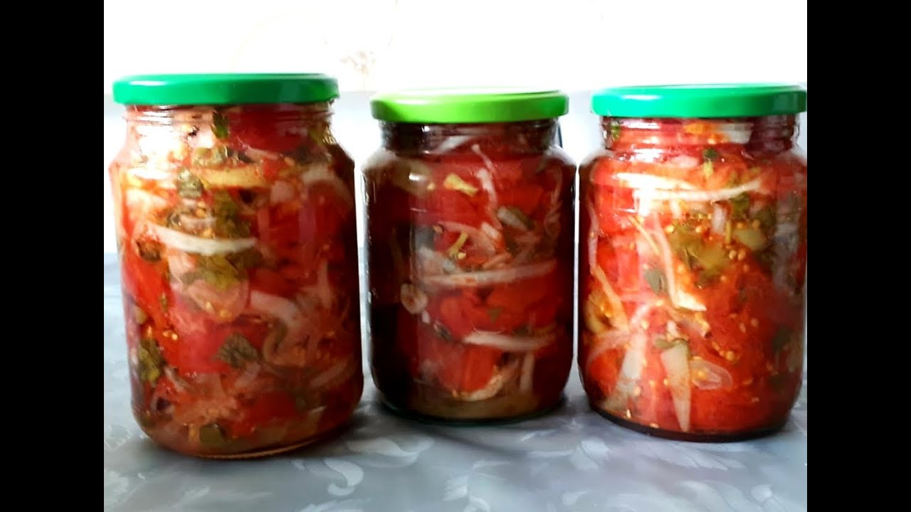 Pomidor salatı.Pomidor salatinin hazirlanmasi. Qışa hazirliq