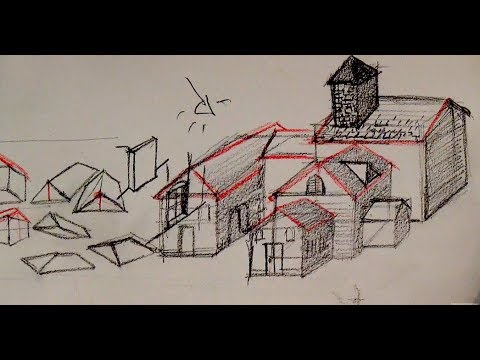 How To Draw A House With Basic Shapes Youtube