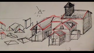 How to draw a house with basic shapes