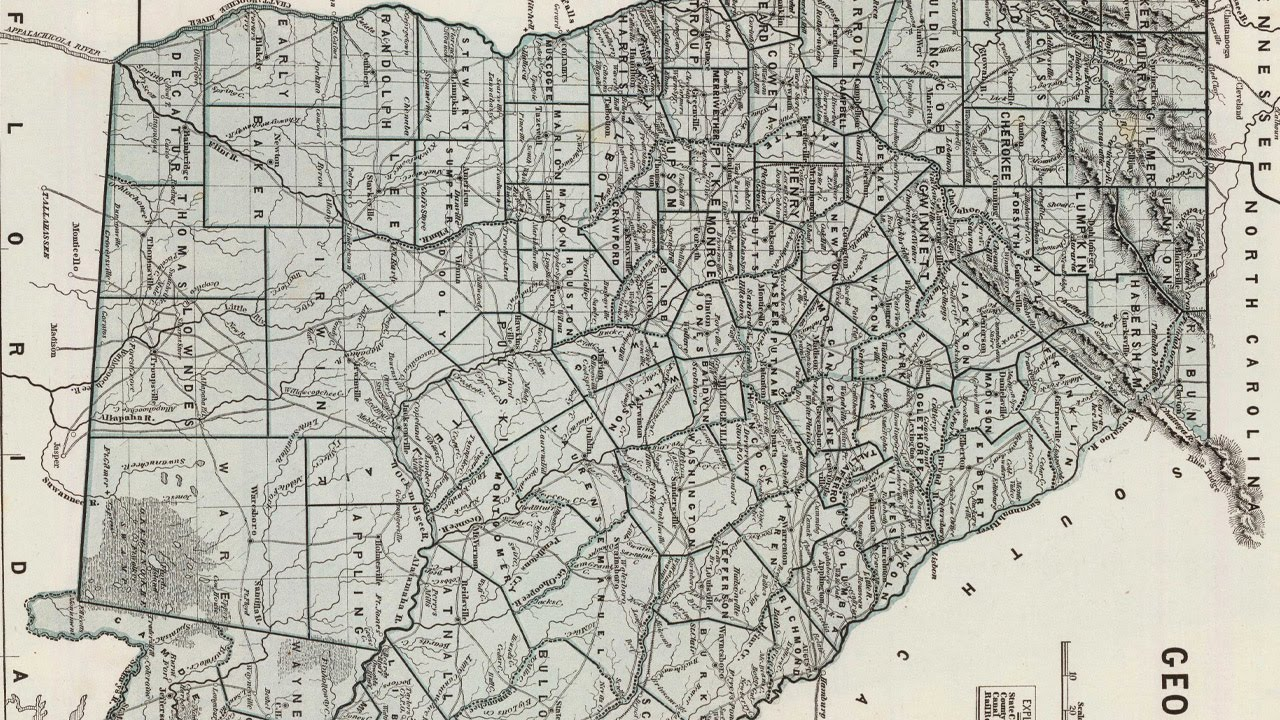 Georgia County Map YouTube - County map of georgia