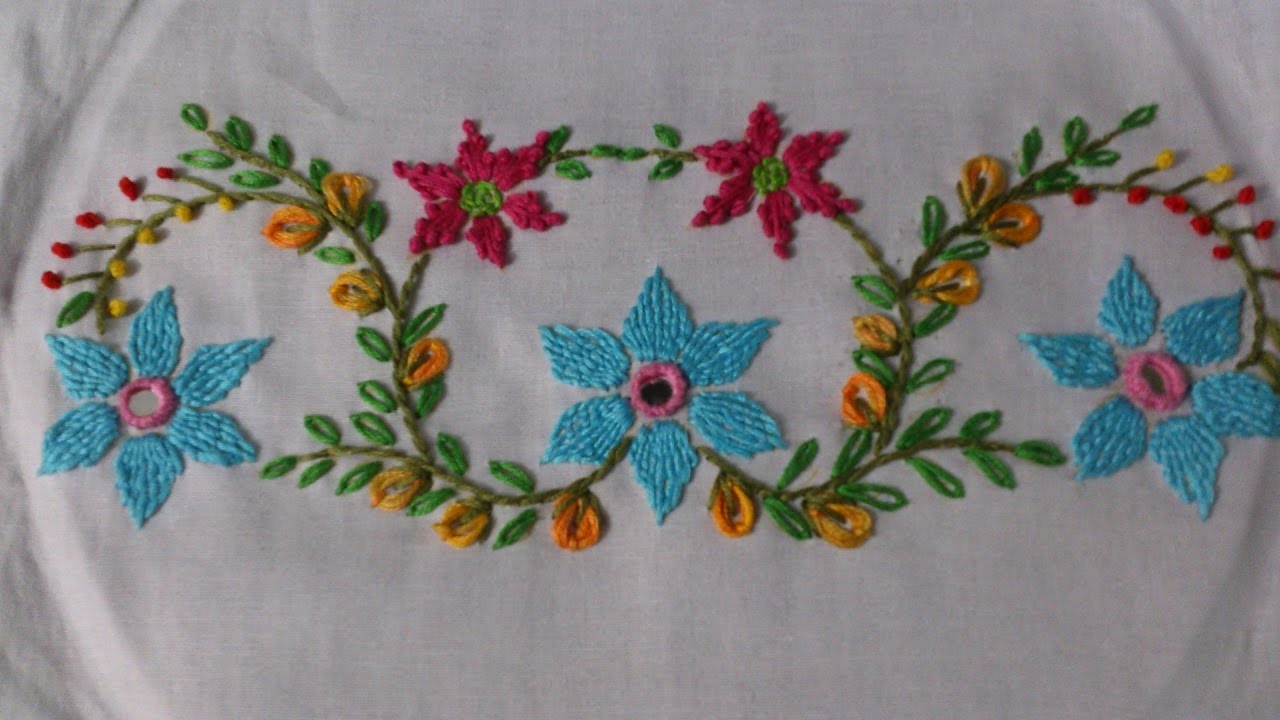 Hand embroidery tutorial mirror work romanian couching