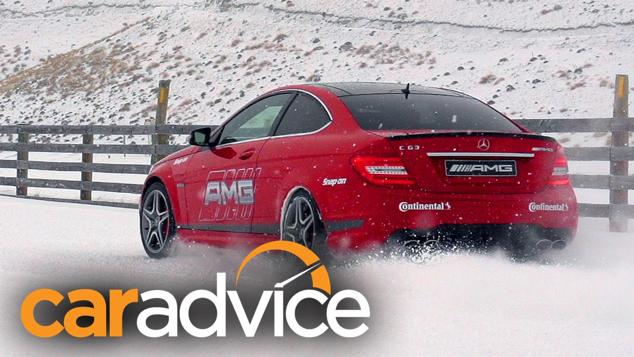 Mercedes amg face off awd v rwd in the snow