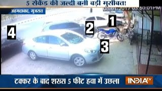 CCTV: Speeding Car Collides with 5 Cars, Hits a Man in Ahmedabad
