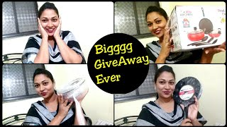BIG GIVEAWAY ANNOUNCEMENT|NONSTIC COOKWARE SET|STEAL HANDI SET|APPAM PATRA.