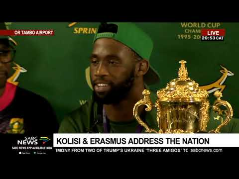 Captain Siya Kolisi, coach Rassie Erasmus address press conf