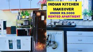 Indian Kitchen Makeover Under Rs.5000  Kitchen Tour  Rental Friendly Kitchen Makeover