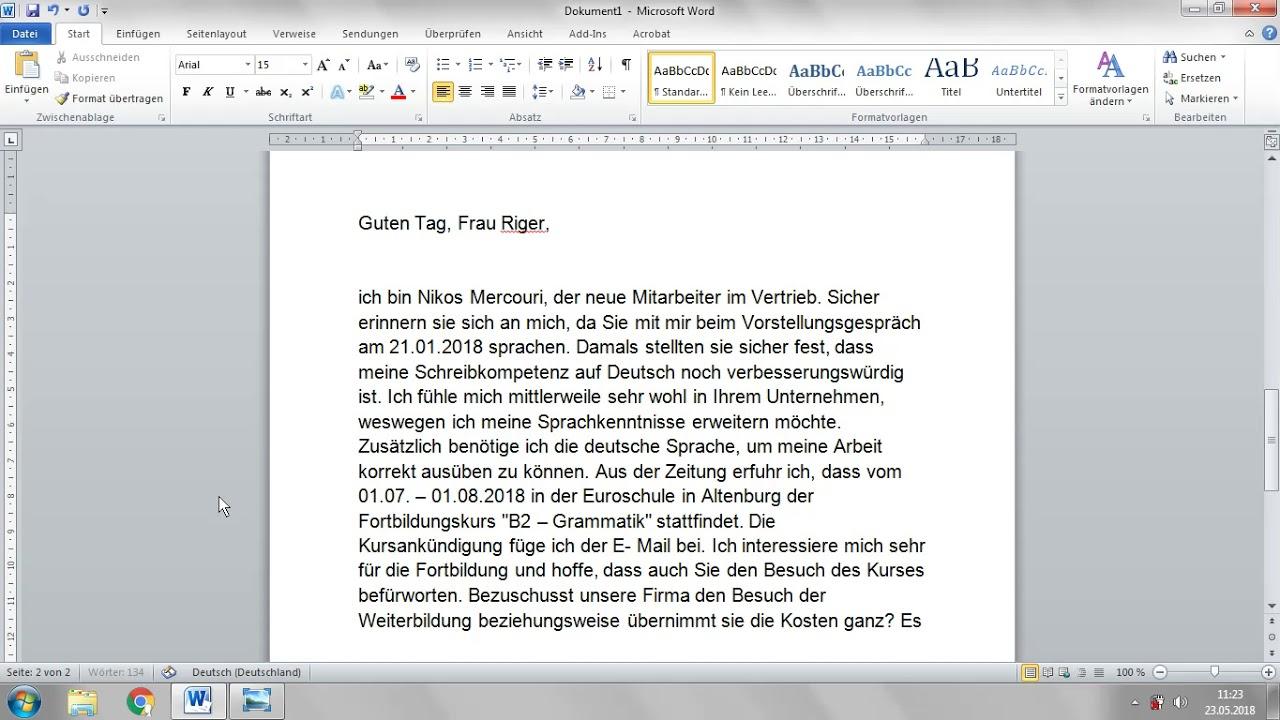 Deutsch B2 Einen Brief Schreiben Eine Information Erhalten Youtube