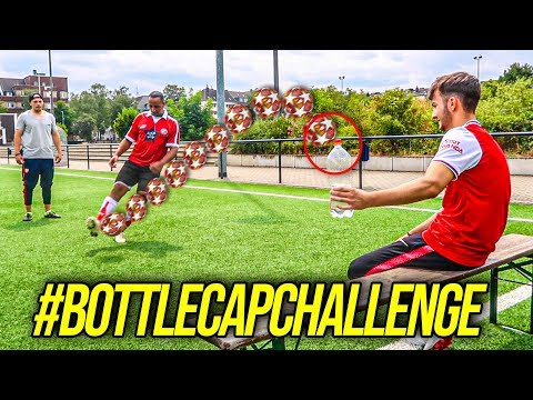 BOTTLE CAP TRICKSHOT FUßBALL CHALLENGE !