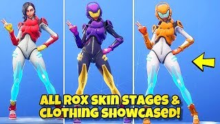 NOUVEAU ROX SKIN STAGES - COLORS SHOWCASED! Fortnite Battle Royale (ALL ROX SKIN STYLES) SEASON 9