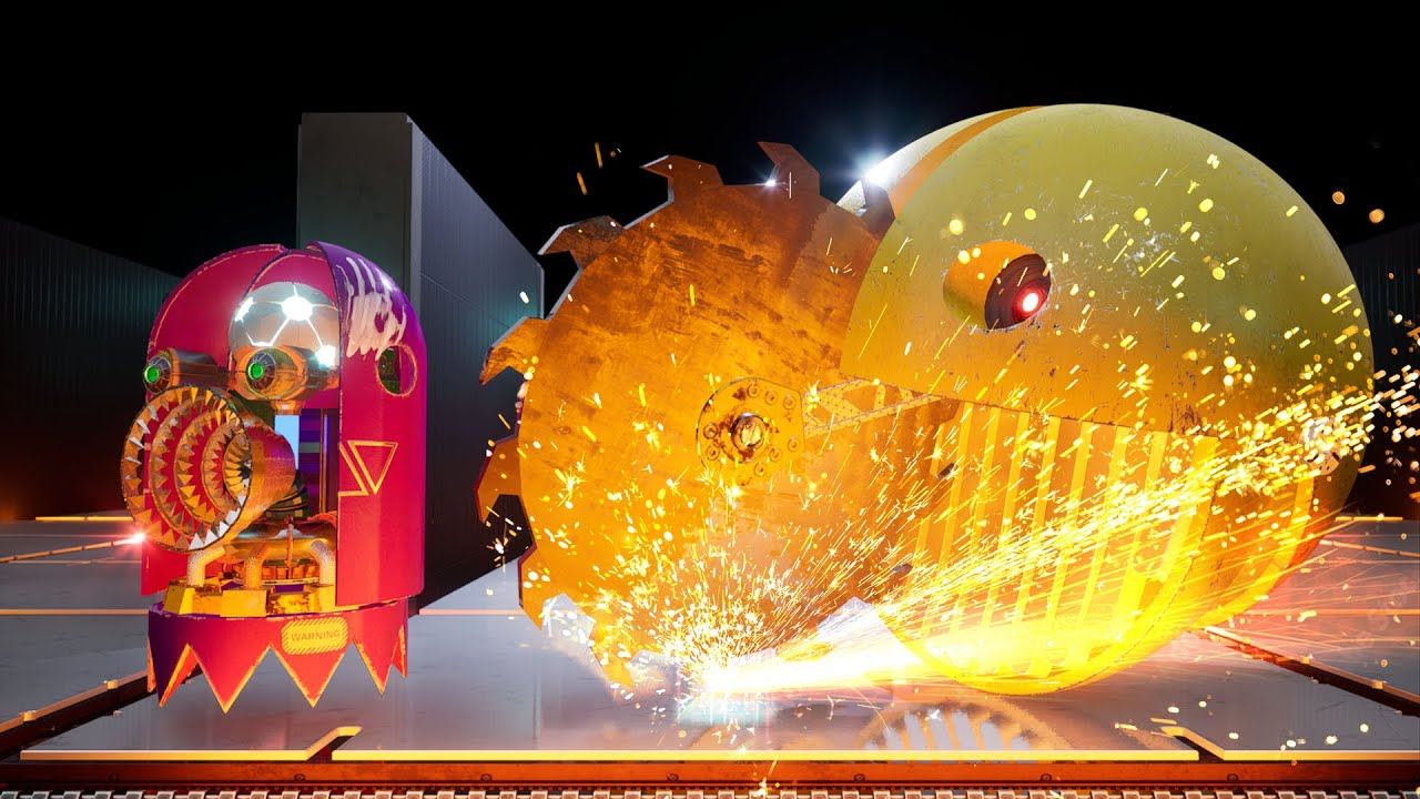 Pacman VS 3 Robot Ghosts in Crazy Maze Ep.2