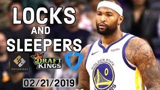 NBA 02/21/2019 DraftKings, FanDuel and PrizePicks Locks and Sleepers — Locks DFS