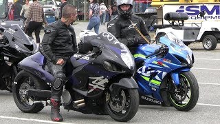 Turbo Hayabusa vs Nitro GSXR - 604 Street Legit motorbikes drag racing