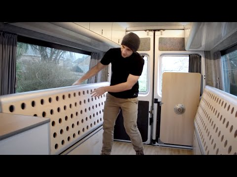 DIY 8 SEATER SPRINTER CAMPERVAN CONVERSION TOUR | Mercedes van folding bench seat double bed