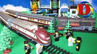 Мультфильмы про машинки. Полицейская машинка - Едем на поезде, ЛЕГО мультики для детей и Трамвай
