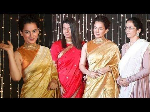 Kangana Ranaut With Sister Rangoli & Mother At Priyanka Chopra Nick Jonas Reception Mumbai Reception