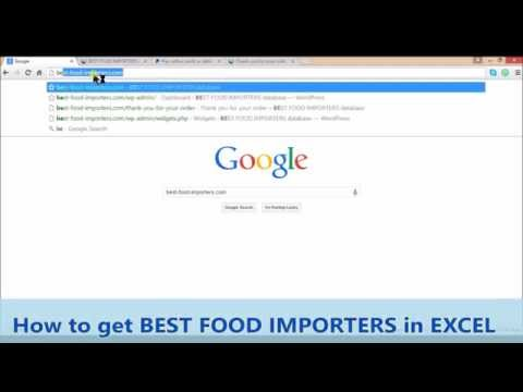 How to get Best Food Importers in EXCEL