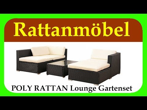 POLY RATTAN Lounge Gartenset SCHWARZ | Sofa Garnitur | Gartenmöbel | Rattanmöbel