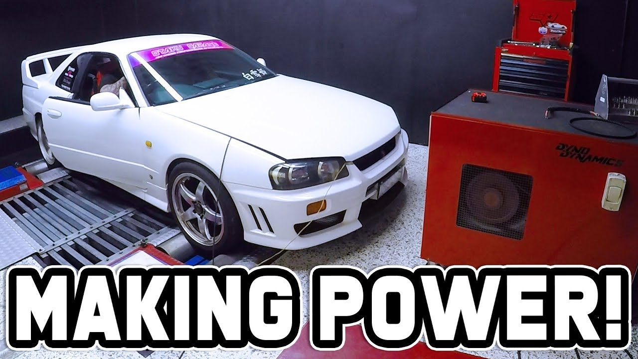 MAKING POWER ON THE DYNO - R34 Skyline Build!