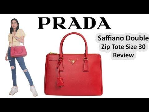 รีวิวกระเป๋าปราด้า Prada Saffiano Double Zip Tote Fuoco Size 30