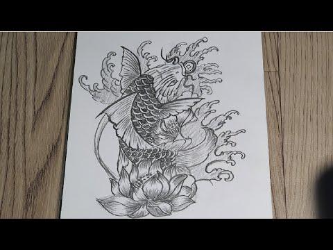 Đẳng cấp bút chì – Cách Vẽ Cá Chép trong Tattoo bằng bút chì #4   How To Draw fish with pencil