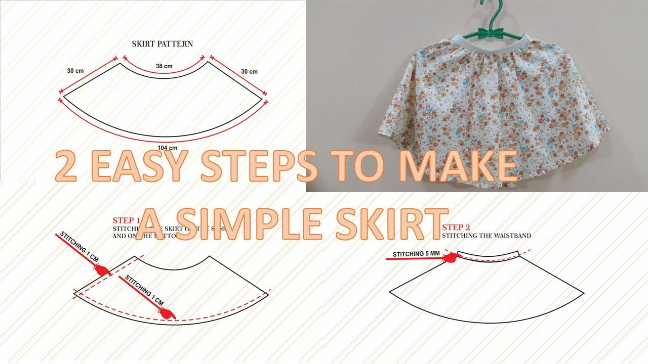 How To Make Pattern And Sew A Simple Circle Skirt With Elastic Waist