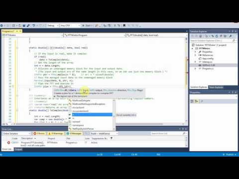 C# Tutorial: Computing the 1-D FFT and IFFT using the FFTW library