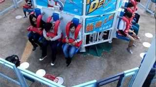 Suzy riding the Abyss at Ocean Park Hong Kong