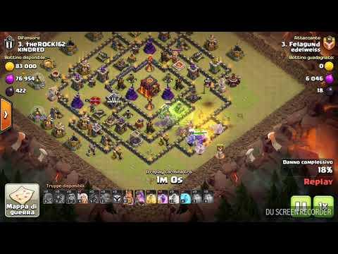 clash of clans attacco in war con bocciatori th10