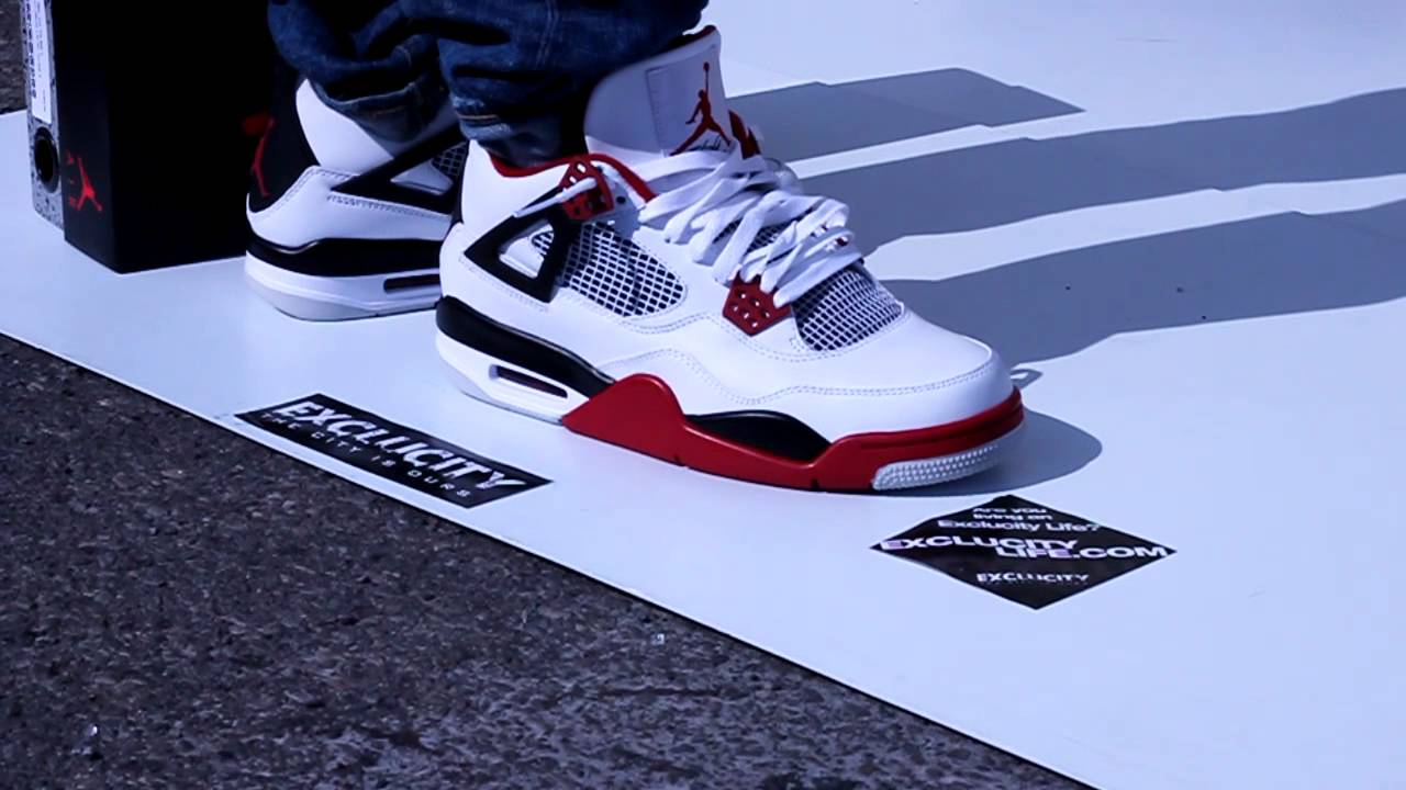 7667fa829b1d88 ... low cost air jordan retro 4 varsity red on feet edition exclucity  youtube 7db97 828a4