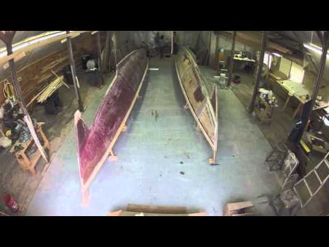 Building Mon Tiki: Montauk's Charter Sailing Catamaran, glassing the starboard hull
