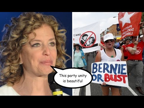 """Amid #BernieOrBust Protests Wasserman Schultz Insists Dems Are """"Completely United"""""""