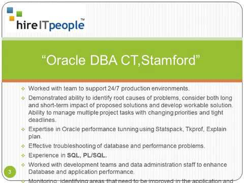 Oracle DBA Resume Stamford, CT - YouTube
