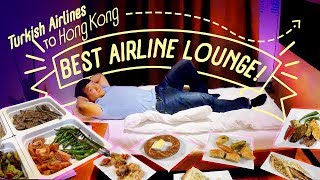 BEST AIRLINE LOUNGE! Turkish Airline Business Class Food Rev...