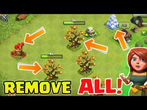 Removed All Rare Obstacles From My Base ! Clash Of Clans