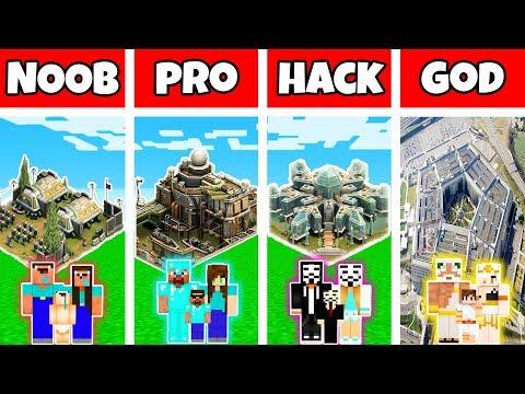 Minecraft: FAMILY MILITARY BASE BUILD CHALLENGE - NOOB Vs PRO Vs HACKER Vs GOD In Minecraft