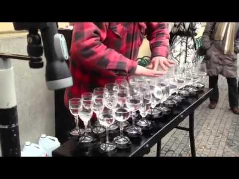 Street Artist Plays Hallelujah with Wine Glasses